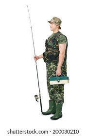 Full length side view portrait of a young fisherman in camouflage holding a fishing equipment isolated on white background