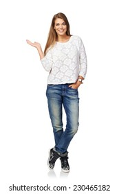 Full Length Smiling Beautiful Woman Showing Open Hand Palm With Copy Space For Product Or Text