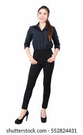 Full length, Smiling young business woman portrait in black long sleeve and slacks on white background