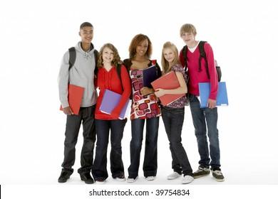 Full Length Studio Portrait Of Five Teenage Students