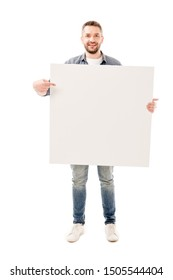 full length view of smiling bearded man holding blank placard isolated on white