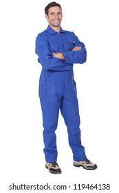 Full length worker in a boiler suit