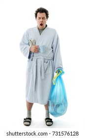 Full Length Yawning Man in bathrobe early in the Morning starting his day, Isolated on White Background: Bringing out the Trash