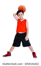 Full length of young asian basketball player in sportswear standing and posing with a ball in his hand. Handsome boy smiling and looking at camera. Studio shot. Isolated on white background.