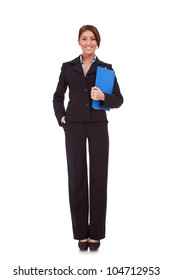 Full length young business woman standing with her clipboard isolated on white background