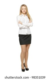 Full length of young female standing with folded hands, isolated on white background