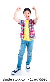 Full length of young happy asian boy over white background