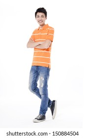 Full length young man in jeans standing