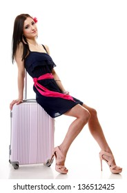 Full length of young summer woman with suitcase luggage bag on white background. Travel and Vacation concept.