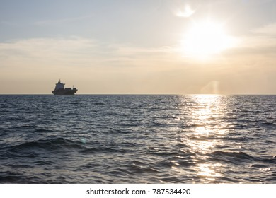 Full loaded cargo ship in the Gulf
