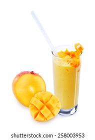 Full mango and mango lassi on isolated white background, mango yogurt drink with full mango on isolated white background, mango yogurt smoothie and full mango on isolated white background