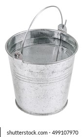 full metal bucket with water on white background