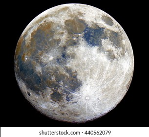 Full mineral colored Moon phase, with its natural colors, all in a black background, taken with large newtonian reflector telescope.