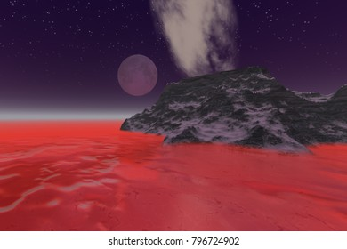 Full moon, 3D rendering, a night landscape, frozen sea, red mist and stars in the sky.