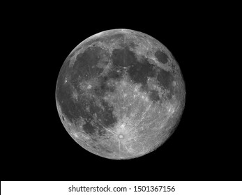 Full moon against black space