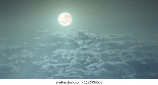 the full moon from the air,