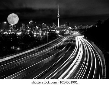 Full Moon Auckland City freeway lights north shore