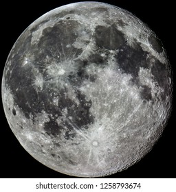 Full moon in a black backround with many detailed craters  taken with a camera and a large telescope