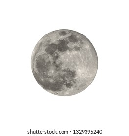Full moon closeup from northern hemisphere - Isolated on white