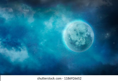 Full Moon in Cloudy Sky. Dark Moon in Clouds. Stars and Moon