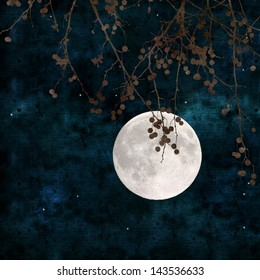 full moon collage with paper texture
