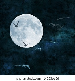 full moon collage with paper texture, seagulls flying