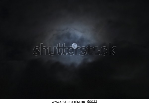 full moon during a cloudy night