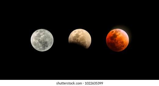 full moon, eclipsed moon, blood moon