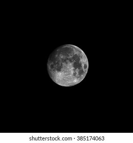 Full moon, isolated on black background for design. Black and white photo with high detailed surface (mares, craters, ridges).