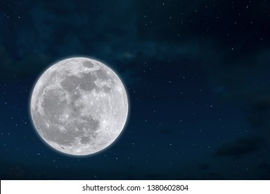 Full moon with little stars in night time.