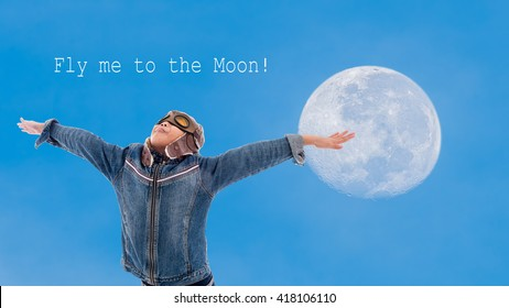 Full moon in the morning with fly me to the moon,