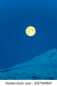 full moon in the mountains of Norway,Tromso