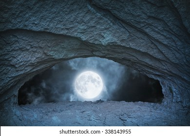 full moon at night time view from blue cave