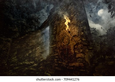 In the full moon night within the walls of the old castle, mystical forces awaken Title - Walls that have seen a lot