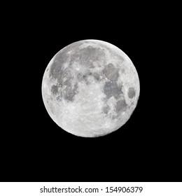 Full moon on black night sky background