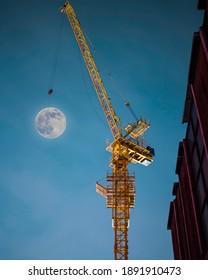 Full moon on crane in Seoul, korea