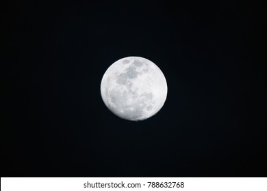 Full moon on dark background in the night