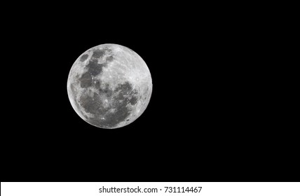 Full moon on a dark sky without clouds viewed from the southern hemisphere
