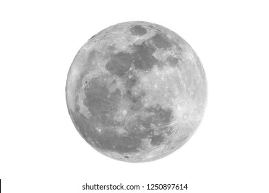 Full moon on isolated white background.