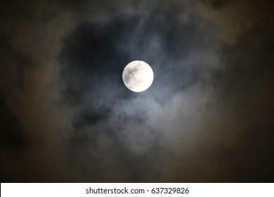 Full moon on night, Halloween background, Moonlight, Midnight, Dark cloud sky night with full moon twilight beautiful background