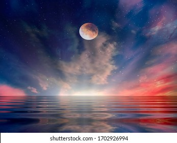full moon on night starry sky at sea lilac pink sunset sky stars summer sea ,dark blue water reflection