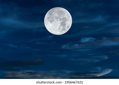 Full moon on the sky at night.