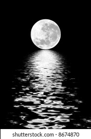 Full moon on the Spring Equinox, with digitally enhanced reflection over water and set against a black background.