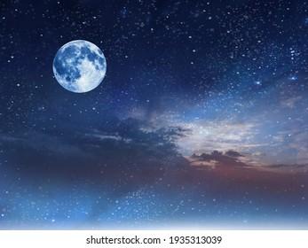 full moon on starry night at sunset sea , blue  pink cloudy sky sunset light horizon boat skyline nature landscape