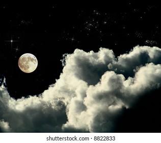 full moon on warm night sky