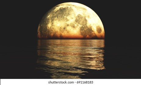 Full Moon on the water,reflect on the sea,Science Fiction Scene,purple cloud & smoke flying.3D rendering.