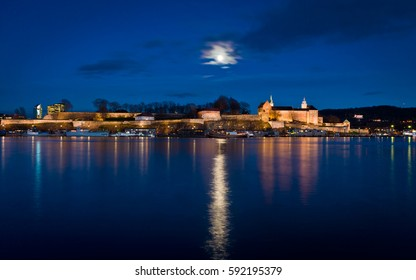 Full moon over Akershus Castle and Fortress, Oslo, Norway