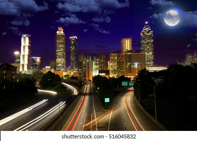 Full moon over Atlanta, Georgia, USA