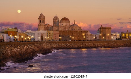 Full Moon Over Cadiz Cathedral from Southern Field Andalusia Spain