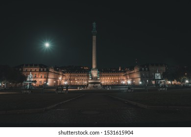 Full moon over castle Stuttgart night photography, photographed from castle square